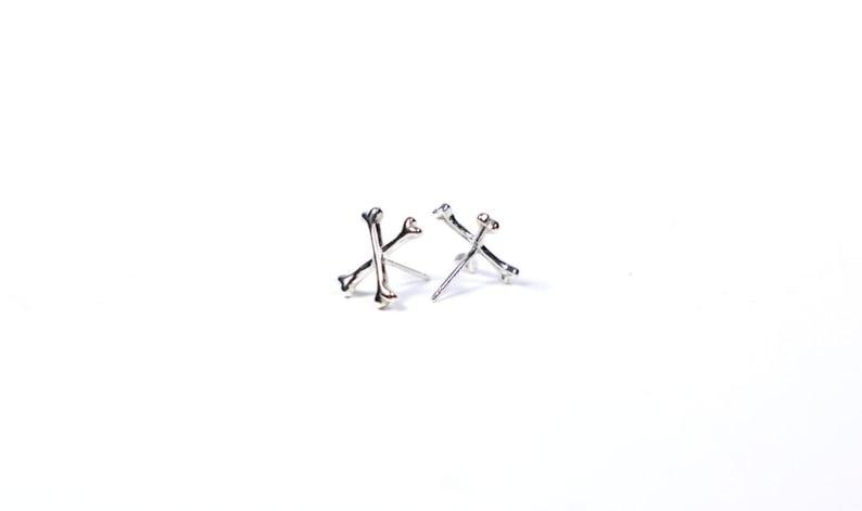 08207961666f3 Crossed Bones // sterling silver or 14k gold vermeil // handmade stud  earrings // from Mod Evil