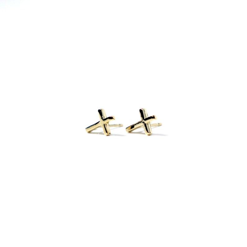 97f64ea9a1355 Inverted Cross Studs // solid sterling silver // 14k gold vermeil //  handmade petite delicate St. Peter's Cross earrings
