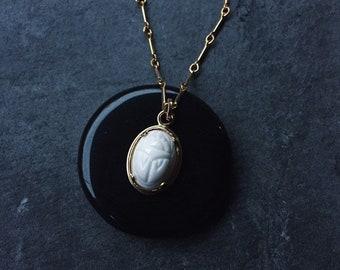 Scarab Amulet PRE-ORDER; the Eternal Return // Vintage 1960s Egyptian Revival Glass Scarab set in Handmade Gold Vermeil Pendant // Séance
