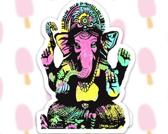 Ganesha Sticker Decal, Vinyl Stickers for Laptops, Car Decals, Notebook Sticker, Phone Sticker, Yoga Sticker, Elephant Sticker, Hindu God