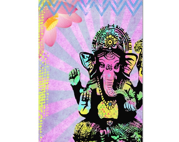 Ganesha Magnet Art - Uplifting and Inspiring Magnet Refrigerator - Office Decor - Kitchen art - Gift - Yoga Lover