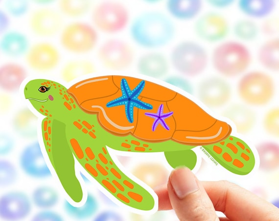 Turtle Sticker | Sea Turtle | Vinyl Sticker for Laptop | Car Turtle Sticker | Ocean Sticker | Animal Sticker | Sea Turtle Sticker | Turtle