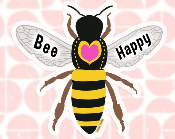 Bee Sticker Decal, Vinyl Stickers for Laptops, Car Decals, Notebook Sticker, Water bottle Sticker, Save the bees, honey bee