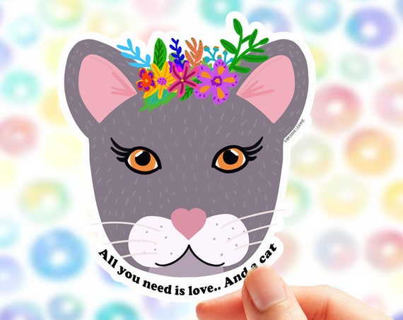 Cat Sticker | Vinyl Sticker Laptop  | Cat Lover Car Decal | Pet Sticker | Cat Lover Gift | Cat and Love | Cat Decal | Cat Lady gift