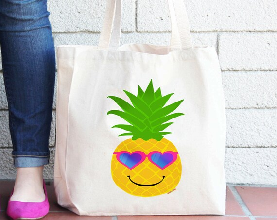 Pineapple Tote Bag - Reusable Grocery Shopping Bag - Farmer's Market Bag - Cotton Tote Bag - Book Bag - Peace - Free Shipping