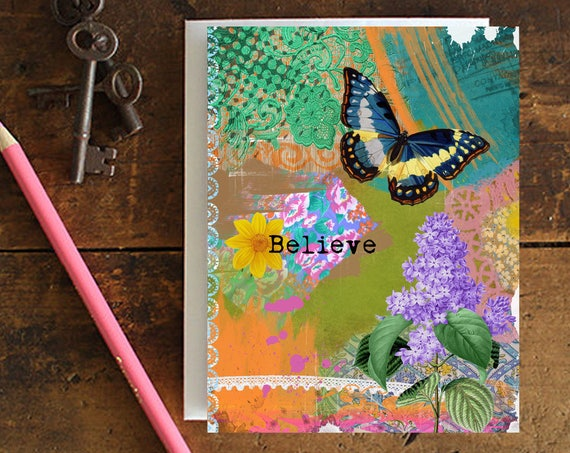 Butterfly Greeting Card Handmade - Note Card - Birthday Card - Encouragement - Stationery - Gift for Her - Snail Mail - Everyday Card