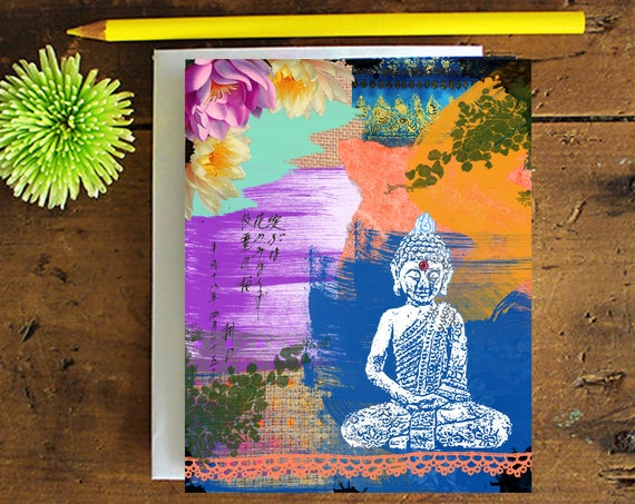 Buddha Greeting Card - Note card - Birthday Card - Encouragement Card - Buddha Art Greeting Card - Stationery - Blank Card -