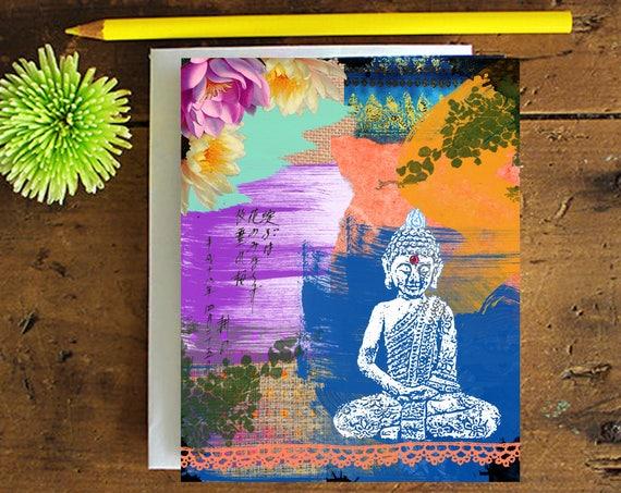Buddha Greeting Card - Note card - Birthday Card - Encouragement Card - Buddha Art Greeting Card - Stationery - Blank Card - Glittered