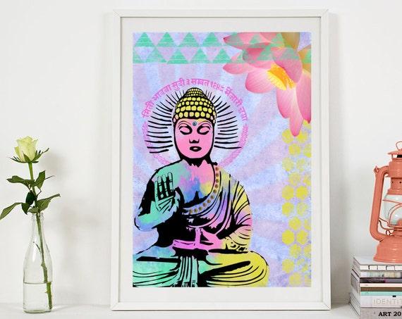 Buddha Art Print - Inspirational Collage Art - Colorful Buddha Painting - Home Decor - Poster - Yoga - Spiritual Art