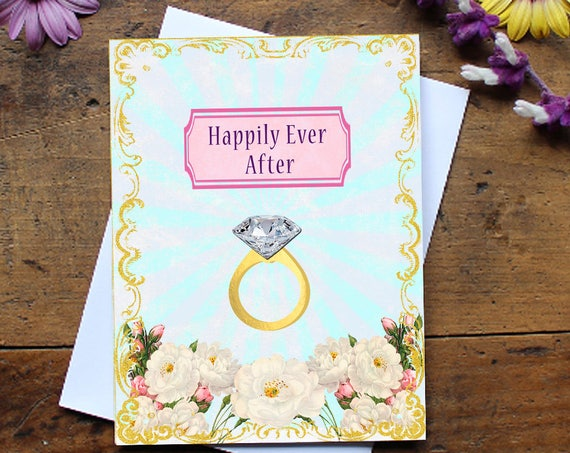 Wedding Greeting Card Handmade - Engagement Card - Bridal Shower card  Stationery - Wish - Marriage Card - Engagement Card