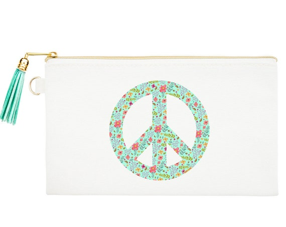 Peace Sign Zipper Canvas Bag, Natural Canvas Pouches, Hippie Cosmetic Pouch, Peace Coin Purse, Peace Sign Zipper Pouch