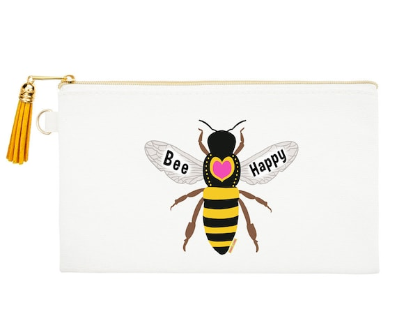 Bee Happy Zipper Canvas Bag, Natural Canvas Pouches, Honey Bee Cosmetic Pouch, Bee Coin Purse, Honey Bee Zipper Pouch,