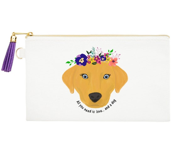 Dog Zipper Canvas Bag, Natural Canvas Pouches, Pet Lover Cosmetic Pouch, Dog Coin Purse, Pet Zipper Pouch, Love and a Dog