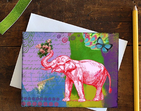 Elephant Greeting Card - Note card - Blank Card - Valentine's Day  - Birthday Card - Love Card - Elephant with Flowers - Stationery