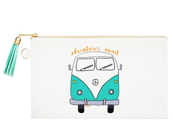 Van Zipper Canvas Bag, Natural Canvas Pouches, Van Bus Cosmetic Pouch, Coin Purse, Hippie Bus  Zipper Pouch, Adventures Makeup Bag