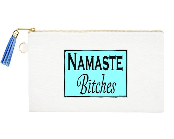Namaste Zipper Canvas Bag, Natural Canvas Pouches, Funny saying Cosmetic Pouch,Yoga Coin Purse, Yoga Lover gift