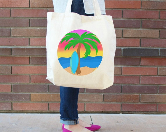 Beach and Ocean Tote Bag - Reusable Shopping Grocery Bag - Farmer's Market Bag - Cotton Bag - Eco Tote Bag - Printed in USA