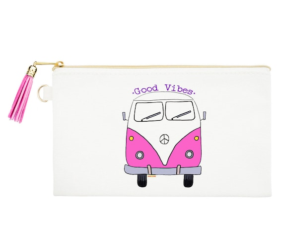 Van Zipper Canvas Bag, Natural Canvas Pouches, Van Bus Cosmetic Pouch, Coin Purse, Hippie Bus Zipper Pouch, Good Vibes Makeup Bag