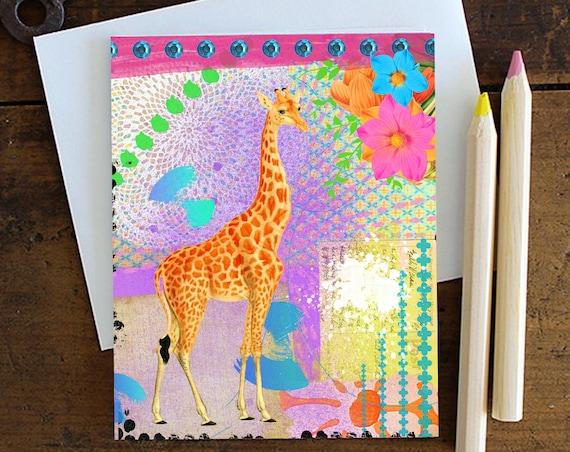 Giraffe Greeting Card Handmade - Note card - Birthday - Love card - Giraffe - Stationery - Blank Inside -