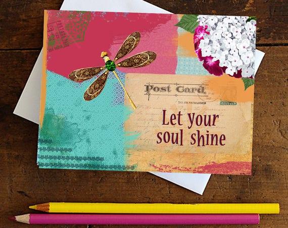 Dragonfly Greeting Card Handmade - Note card - Birthday Card - Encouragement Card - Stationery - Blank Card - Statioer