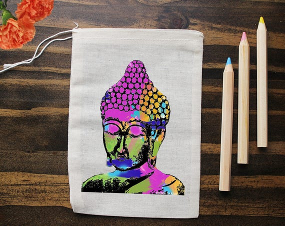 Buddha Muslin Bags - Art Bag - Pouch - Gift Bag - 5x7 bag - Crystal Pouch - Party Favor - Packaging - Yoga Gift