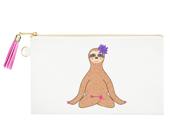 Sloth Zipper Canvas Bag - Natural Canvas Pouches - Yoga Cosmetic Pouch - Sloth Coin Purse - Pencil Bag - Zipper Pouch - Meditating Sloth
