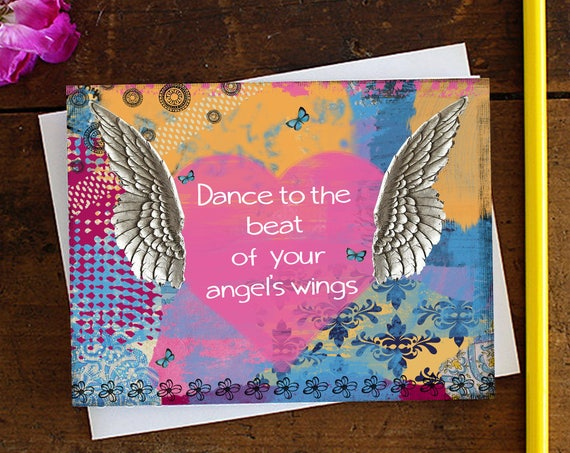 Angel Greeting Card - Birthday Card - Quote Art Greeting Card - Stationery - Blank Card - Note Card - Encouragement
