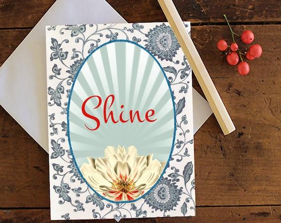 Lotus Greeting Card - Note card - Birthday Card - Lotus Flower Card - Stationery - Blank Card - Glittered - Birthday Card