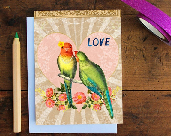 Love Birds Greeting Card - Anniversary Card - Wedding Card - Love Card - Birthday Card - Valentine's Day -Note Card - Stationery -