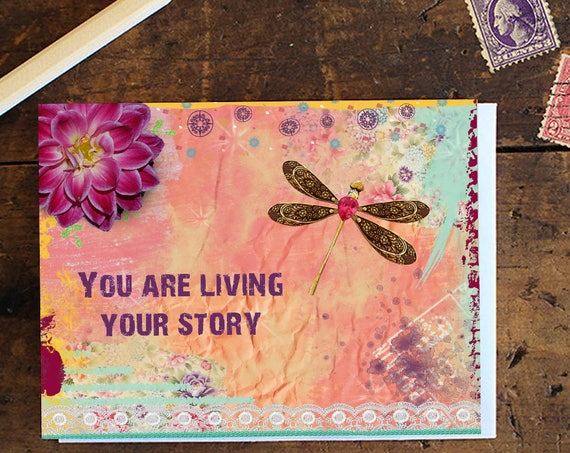 Dragonfly Greeting Card Handmade - Note card - Birthday Card - Anniversary Card - Dragonfly Inspiring Quote Greeting Card - Stationery