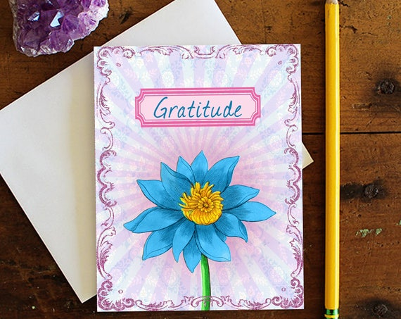 Thank You Greeting Card - Note card - Stationery - Thank You Card - Gratitude Card  - Lotus Flower - Appreciation