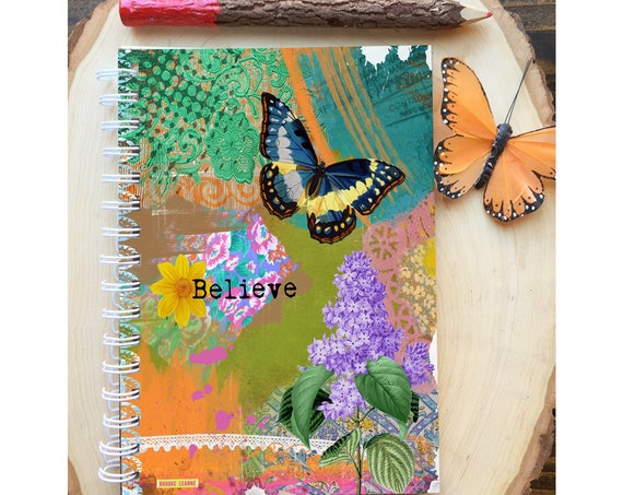 Butterfly Spiral Bound Notebook - Believe Journal - Hard Notebook - Spiral Journal - Back to School - Gift - Journal