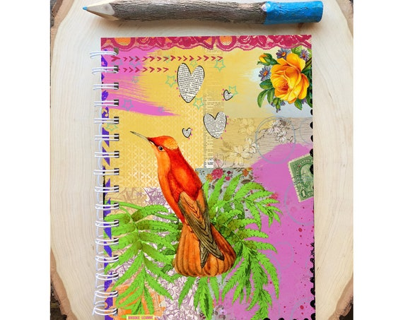 Bird Spiral Bound Notebook - Orange Bird Journal - Bird Notebook -  Hard Notebook - Spiral Journal - Back to School - Gift - Diary