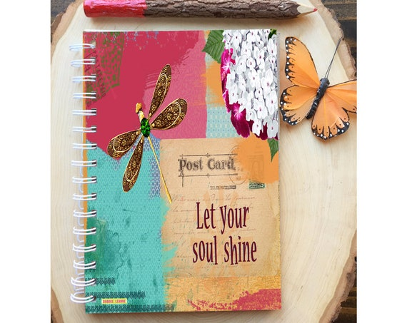 Soul Shine Spiral Bound Notebook - Dragonfly Journal - Hard Notebook - Spiral Journal - Back to School - Gift - Journal