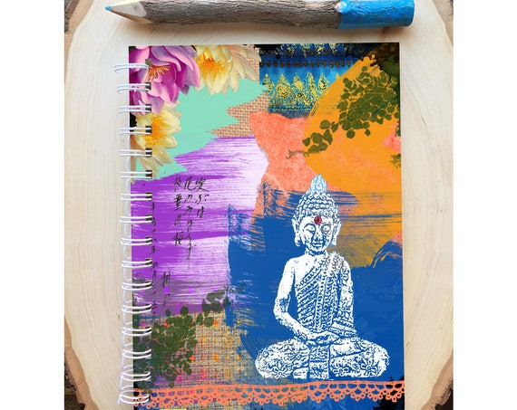 Buddha Spiral Bound Notebook - Colorful Yoga Journal  - Hard Notebook - Spiral Journal - Back to School - Gift - Buddha  - Yoga Lover Gift