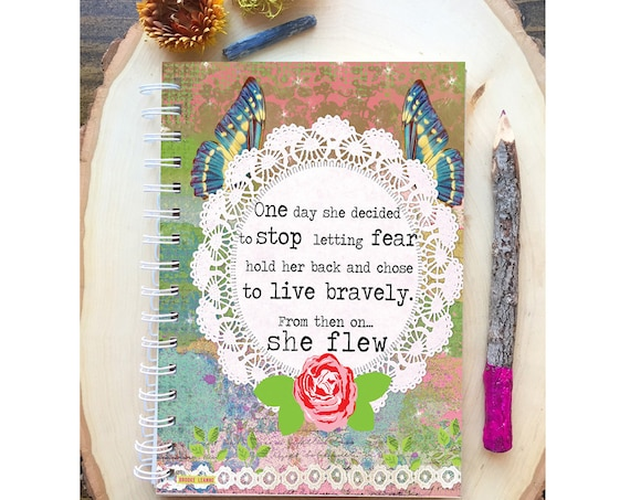 Uplifting Quote Spiral Bound Notebook - She Flew - Hard Notebook - Spiral Journal - Back to School - Gift - Journal - For Her