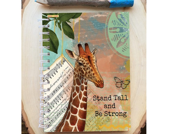 Giraffe Spiral Bound Notebook - Stand Tall Giraffe notebook - Hard Notebook - Spiral Journal - Back to School - Gift - Journal