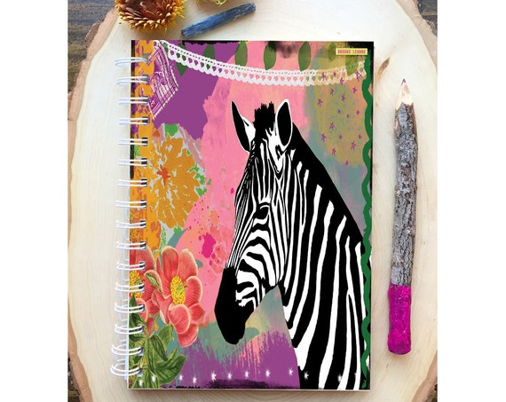Zebra Spiral Bound Notebook - Colorful Yoga  - Hard Notebook - Spiral Journal - Back to School - Gift -  Zebra Journal