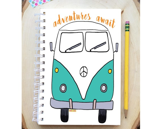 VW Bus Spiral Bound Notebook - VW Van notebook - Hard Notebook - Spiral Journal - Back to School - VW Gift - Journal - Adventures