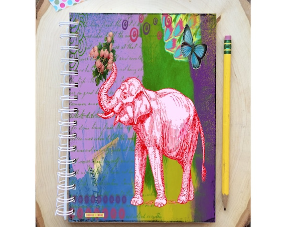Elephant Spiral Bound Notebook - Colorful Diary - Hard Notebook - Spiral Journal - School - To Do List - Gift - Journal