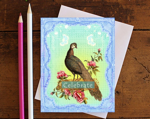 Peacock Greeting Card - Note card - Birthday Card - Encouragement Card - Bird Card - Celebrate - Stationery - Blank Card -