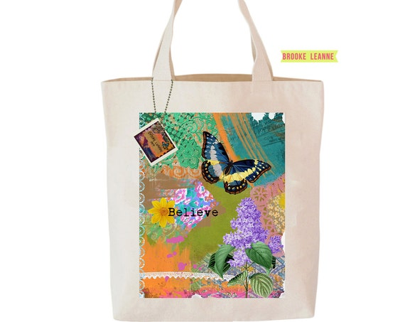Butterfly Tote Bag, Reusable Shopper Bag, Farmers Market Bag, Cotton Tote, Shopping Bag, Eco Tote Bag, Reusable Grocery Bag, Printed in USA