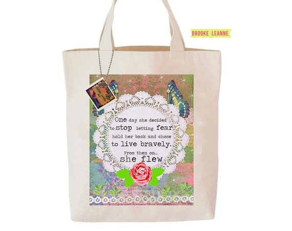 Quote Tote Bag, Reusable Shopper Bag, Farmers Market Bag, Cotton Tote, Shopping Bag, Eco Tote Bag, Reusable Grocery Bag, Printed in USA
