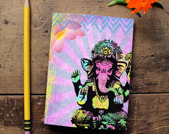 Ganesha Journal - Handmade Notebook - Blank Journal - Diary - Daily Planner - Writing journal - Sketchbook - Notepad - Yoga Lover