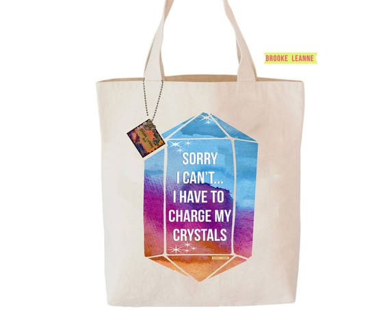 Charge my Crystals Tote Bag  - Reusable Grocery Shopping Bag - Yoga Lover Bag - Cotton Eco Tote Bag - Hippie Book Bag - Free Shipping
