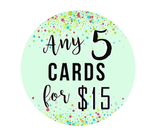Choose Any 5 Cards - Greeting Card - Birthday - Deal - Saving - Paper Goods - Greeting Card Set - Pack of Cards