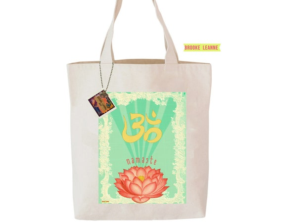 Namaste Tote Bag, Reusable Shopper Bag, Farmers Market Bag, Cotton Tote, Shopping Bag, Eco Tote Bag, Reusable Grocery Bag, Printed in USA