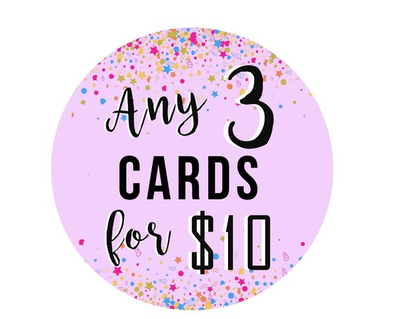 Choose Any 3 Cards - Greeting Card - Birthday - Deal - Saving - Paper Goods - Greeting Card Set - Pack of Cards