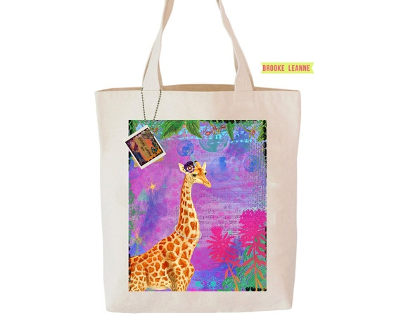 Giraffe Tote Bag, Reusable Shopper Bag, Farmers Market Bag, Cotton Tote, Shopping Bag, Eco Bag, Reusable Grocery Bag, Printed in USA