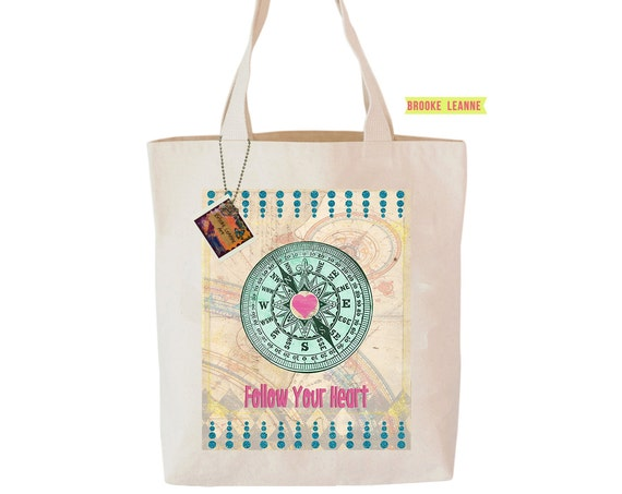 Follow your heart - Reusable Shopper Bag, Farmers Market Bag - Cotton Tote, Shopping Bag, Eco Tote Bag, Reusable Grocery Bag, Printed in USA
